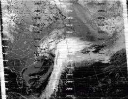 Satellite image received over shortwave Weather FAX from Boston, USA