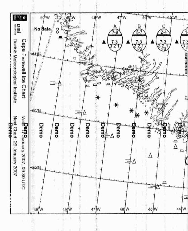 Partial FAX map of Greenland sent by Danish Weather FAX service, shortwave