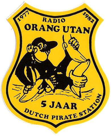 Sticker from Dutch pirate station Radio Orang Utan, 1980s