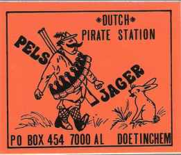 Sticker from Dutch pirate station Radio Pelsjager, mid 1980s