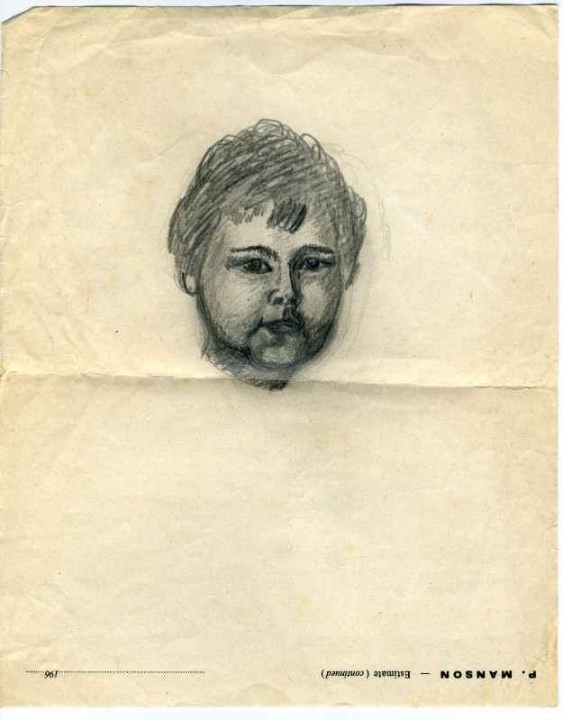 Drawing of me, made by my father, late 1969 or early 1970.