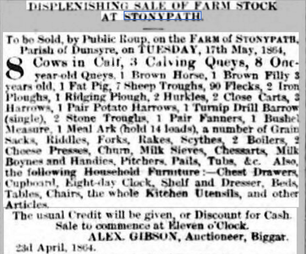 hamilton-advertiser-30-april-1864-displenishing-sale