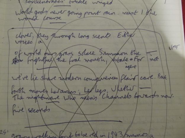 """handwritten draft of """"from the Language of Veronice Forrest-Thomson"""" by Peter Manson"""