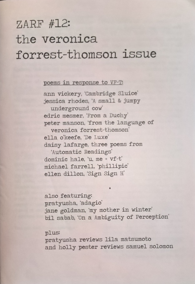 Cover of ZARF #12, the Veronica Forrest-Thomson issue